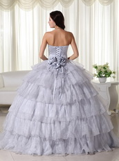 Gray Strapless Layers Puffy Skirt Dress For Quinces 2014 Like Princess