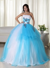 Bright Aqua and White Quinceanera Dress Multi Color Mixed Like Princess