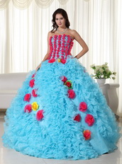 Aqua Quinceanera Dress With Rose Pink Flowers Bodice and Skirt Like Princess