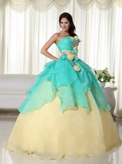 Aqua and Yellow Stitched Together Dress For Quinceanera Girl Like Princess