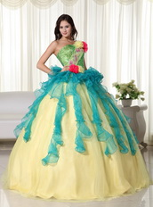 Teal and Yellow Gold Colorful Quinceanera Dress For Sale US Like Princess