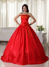 Simple Scarlet Strapless Quinceanera Dress Lace Up Closure Like Princess