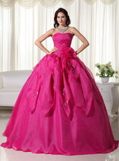 Rose Pink Strapless Quinceanera Dress With Embroidery Like Princess
