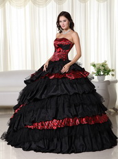Exquisite Black Ball Gown For Quince Wine Red Leopard Zebra Like Princess