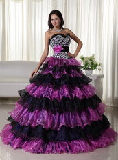 Zebra Bodice Purple and Black Layers Skirt Dress For Quince Like Princess