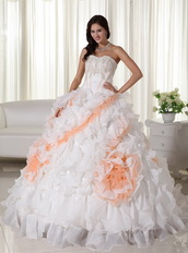 White With Peach Big Puffy Quinceanera Dress With Train Like Princess