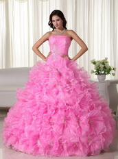 Lovely Pink Quinceanera Dress Rolled Frill Flowers Skirt Like Princess