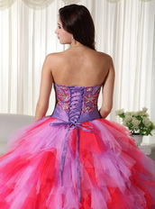 Multi-color Lilac And Hot Pink Quinceanera Puffy Big Skirt Like Princess