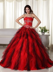 Red and Black Ombre A-line Skirt Quinceanera Dress 2014 Like Princess