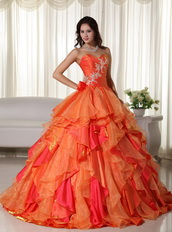 Orange And Hot Pink Contrast Designer Quinceanera Dress Like Princess