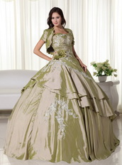 Light Olive Green Taffeta Quince Ball Gown Dress And Jacket Like Princess