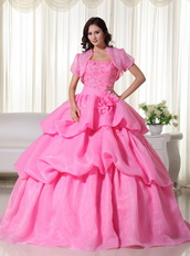 Pink Strapless Bubble Decorate Quinceanera Gown With Jacket Like Princess