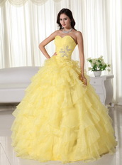 Yellow Sweetheart Ruffled Quinceanera Dress For Teenager Like Princess