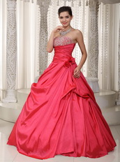 Coral Red Strapless A-line Long Puffy Dress For Prom Wear Like Princess