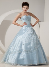 Baby Blue Sweetheart A-line Puffy Organza Dress For Quince Like Princess