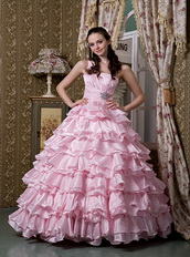 Baby Pink One Shoulder Ruffled Layers Quinceanea Dress Puffy Like Princess