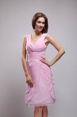 V-neck Knee-length Layers Pink Skirt Homecoming Dress