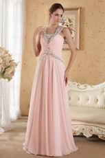 A-line Floor Length Pink Chiffon Skirt Prom Dress With Diamonds
