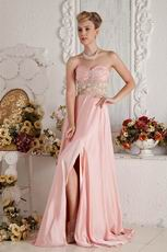 Cheap Sweetheart A-line Pink Chiffon Skirt With Side Split Prom Gowns