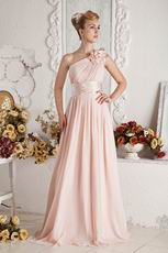 Affordable Ruched Pink Chiffon Prom Dresses With Shoulder Flowers
