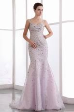 Amazing Spaghetti Straps Mermaid Pink Prom Dress With Crystals
