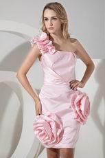 Unique One Shoulder Detachable Train Pink High Low Prom Dress