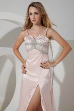 Spaghetti Straps Crystal Pageant Prom Dresses With High Split
