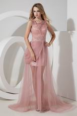 Scoop Neck Side Zip Pink Formal Evening Dress For Juniors
