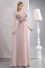 Left Side One Shoulder Peach Puff Chiffon Prom Dress By Designer