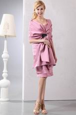 Classical Pleated Flamingo Mother Of The Bride With Shawl