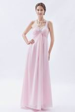 One Shoulder Cross Back Baby Pink Prom Dress With Beading