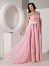 Cap Sleeves Criss Cross Pink Prom Party Dress Shop