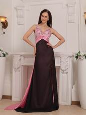 Beaded Multi Colored Prom Dresses With Panel Train Design