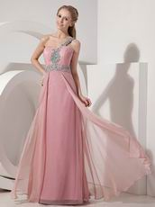 One Shoulder Baby Pink Chiffon Beaded Dress For Prom Wear