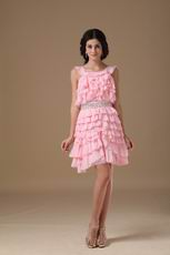 Lovely Pink Sweet Sixteen Dress With Ruffles Knee Length Skirt