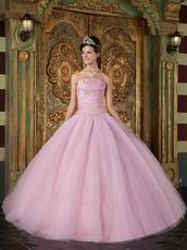 Top Designer Quinceanera Dress With Strapless Pink Tulle Skirt