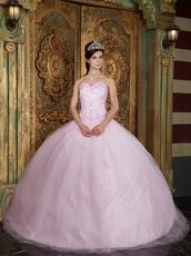 Sweetheart Appliqued Baby Pink 16th Quinceanera Dress