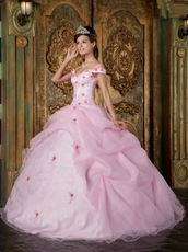 Cute Off Soulder Pink Organza Dress to Quinceanera Party Wear