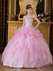 Pink Quinceanera Dress Strapless Floor Length Ball Gown