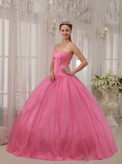 Flaring Sweetheart Pink Sequined La Quinceanera Dresses