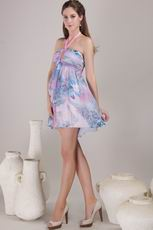 Colorful Printed Chiffon Short Prom Dress With Halter Skirt