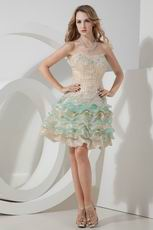Colorful Layers Skirt Hand Made Short Prom Dress With Beading