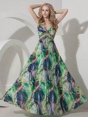 Sexy Halter Top Printed Fabric Cross Back Prom Dress 2014