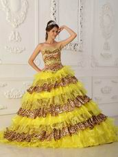 Beautiful Yellow And Leopard Print Layers Design Quinceanera Dress On Sale