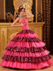 Beautiful Sweetheart Organza and Zara Layers Pink Quinceanera Dress 2014