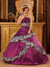 2013 Designers Dark Magenta And Zebra Layers Quinceanera Gown For Girl