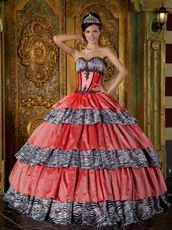 Discount Sweetheart Zebra And Orange Pink Layers Ball Gown Quinceanera Dress