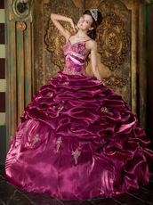 Hot Sell Spaghetti Straps Bubble Floor-length Bugundy Quinceanera Dress
