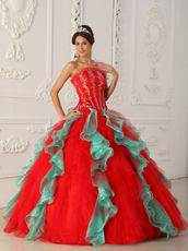 Red and Green Ruffled Skirt Appliqued Bodice Quinceanera Dress For Sale