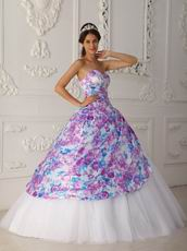 Pretty Sweetheart Printed White Quinceanera Dress Top Designer Listss